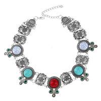 Women Fashion Turquoise Pendant Jewelry Choker Chunky Statement Bib Necklace