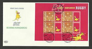 RUGBY AUSTRALIA 2004 BOXING KANGAROO BOOKLET PANE FDC