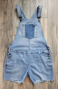 American Rag Cie Womens Short Overalls Size 9 Distressed Blue Denim
