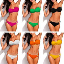 Women Metal Ring Design Push Up Bandeau Bikini Set Strapless Swimwear Swimsuit