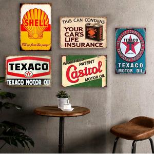 5 PCS GAS Motor Oil Antique Tin Signs Vintage Garage Man Cave Retro Wall Decor