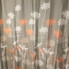 """mDesign Floral Fabric Shower Curtain 72"""" x 72"""" Coral Gray White 100% Poly NWOT"""