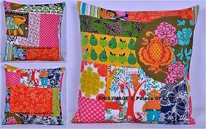 Indian Cotton Fabric Handmade Patchwork Kantha Work Cushion Cover Sofa Home Art