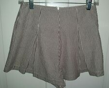 American Apparel brown white seersucker pleated Hampton shorts skort. S NWT