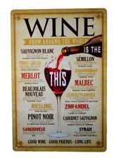 Vintage Blechschild Deko Wein Welt Merlot Pinot Riesling Retro Schild 30x 20x cm