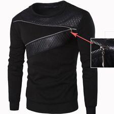 Mens Designer Zip Leather Sweatshirt Warm Coat Jacket Sweater Pullover Jumper UK
