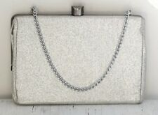 Vintage Silver Lame Metallic Evening Bag Purse Small Clutch Excellent