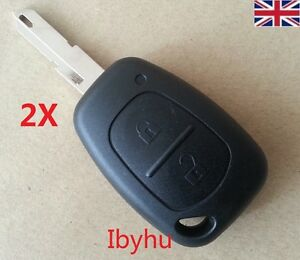 2 X Vauxhall Vivaro Primastar Interstar Movano 2 Buttons Key Fob Case & Blade