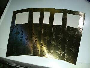 5X PASSE PARTOUT CARDS GOLD CHRISTMAS 21X10 CM NEW (NO ENVELOPES)
