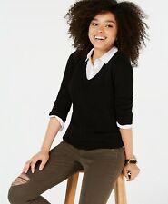 Charter Club Petite Womens Pure Cashmere V-neck Sweater Black PS $139
