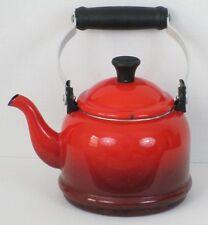 Vintage Le Creuset Cerise Teapot Cherry Red Ribbed Base Enameled Kettle 1.1L