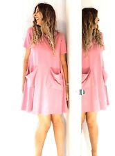 COS Jersey Trapeze T-shirt Dress Rose Pink Pockets A Line Stretch Tunic Medium