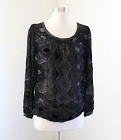 Club Monaco Black Sheer Burnout Velvet Geometric Top Blouse Size S Silk Velour