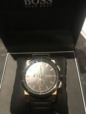 Hugo Boss Mens Watch Chronograph Boxed Instructions Rubber Strap