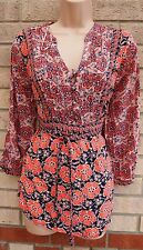PEACHY ORANGE NAVY BLUE BELTED HALF BUTTONED BAGGY FLORAL BLOUSE TUNIC TOP M L