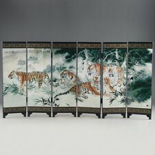 """CHINESE LACQUER OLD HANDWORK PAINTED FIVE BLESSING TIGER """"SIX FOLD SCREEN DECO"""""""