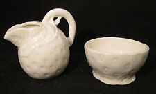 Made in Czechoslovakia Strawberry Motif Creamer & Open Sugar Bowl