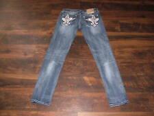 Women's Miss Me Jeans Skinny Leg Size 31 Hearts Wings Low Rise Denim Blue MINT