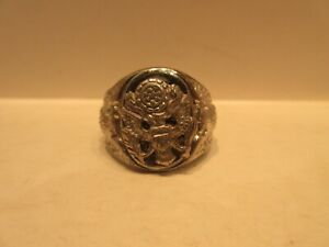 World War II Sterling Silver U.S. Army Ring Size 10 United States USA