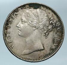1840 BRITISH INDIA UK COLONY Queen Victoria Genuine Silver RUPEE Coin i83674
