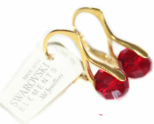 Ah! Jewellery® Crystals from Swarovski® 8mm Siam Briolette Round Gold Earrings