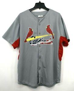 St. Louis Cardinals Mens Gray Logo Spell Out Print Button Up Baseball Jersey L