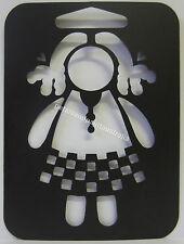 New Stencil Long Hair Girl Doll Flexible Vinyl Template 10 x 7.5cm Precision Cut