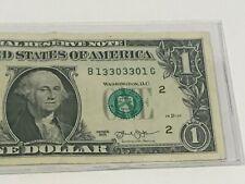 Us Paper Money $1 Bill Fancy Serial Number 13303301 2013