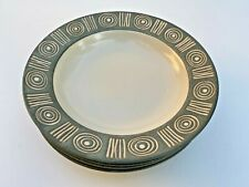 """New listing Pottery Barn ~ Bongo Green Soup Bowl Set (4) ~ Aztec Design 8.75"""" Crafted Japan"""