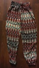 S  New Harem Pants Tribal Print Multi Color Elastic Forever 21 Style