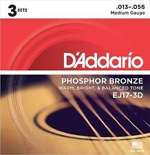 Guitarra acústica de bronce fosforoso D'Addario EJ17-3D Cuerdas 3 conjuntos medio 13-56