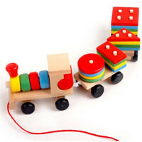 Baby development toys kids train truck wooden geometric   education toys  X