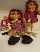 Primitive Raggedy Ann Angel Doll Dolls Set Of 3 Distressed Vintage Handmade