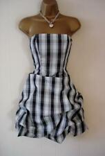 ASOS STUNNING BLACK & SILVER GREY CHECKED GATHERED DRESS SIZE 6 PETITE BNWT!!