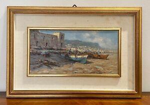 Patrisi Andrea (1954) dipinto ad olio su tavola barche sulla spiaggia