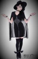 Restyle Luxury Long Cap Sleeve Black Party Dress for Gothic Punk Women Plus Size