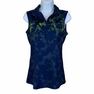 Puma sz XS Navy Blue Green Polo Style SS Golf Shirt Activewear Collar NO buttons