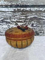 Vtg basket trinket box enamel container round red green floral design vanity