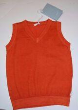 New Beautiful Designer MALO Boys Orange Knit Vest 100% Cashmere  2Y ITALY