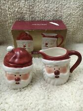 NIB HOME TRENDS CERAMIC SANTA SUGAR BOWL AND CREAMER WITH LID SET