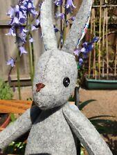 Beautiful Luna Lapin rabbit, handmade from grey marl, 100% wool felt.