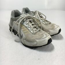 Nike Shox Women's 7 White Silver Leather Lace Up Athletic Shoes 332825