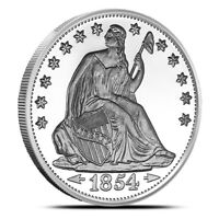 1 - 1 oz .999 Silver Round - Seated Liberty Design -  Brilliant Uncirculated