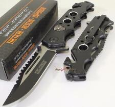 TAC-FORCE Black Skull Bowie Sawback Spring Assisted Opening Rescue Pocket Knife
