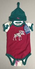 Little Blue House by Hatley Baby Girls 2-Pc Moose One piece Short Sleeve, 6-12M