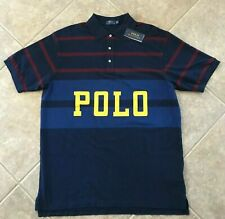 Polo Ralph Lauren Mesh Polo Shirt Mens XL Navy Stripe w/Polo Graphics NWT