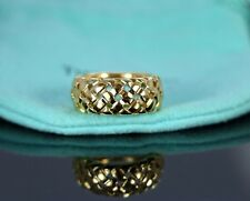Vintage Tiffany & Co 18k Yellow Gold Wheat Basket 8.6mm Vannerie Ring Band 4.75