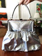 Bonita Vegan Handbag Purse Silver Metallic Frame Faux Leather Vinyl Large