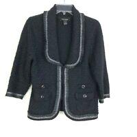 White House Black Market Women's Knit Blazer L Black Metallic Silver Jacket HK