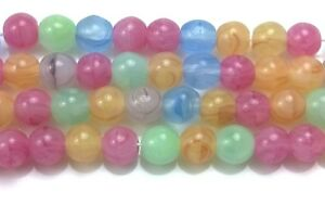 "Czech Glass Round Beads Size 6.00 mm "" MIX SWIRL PASTEL"" Strands"